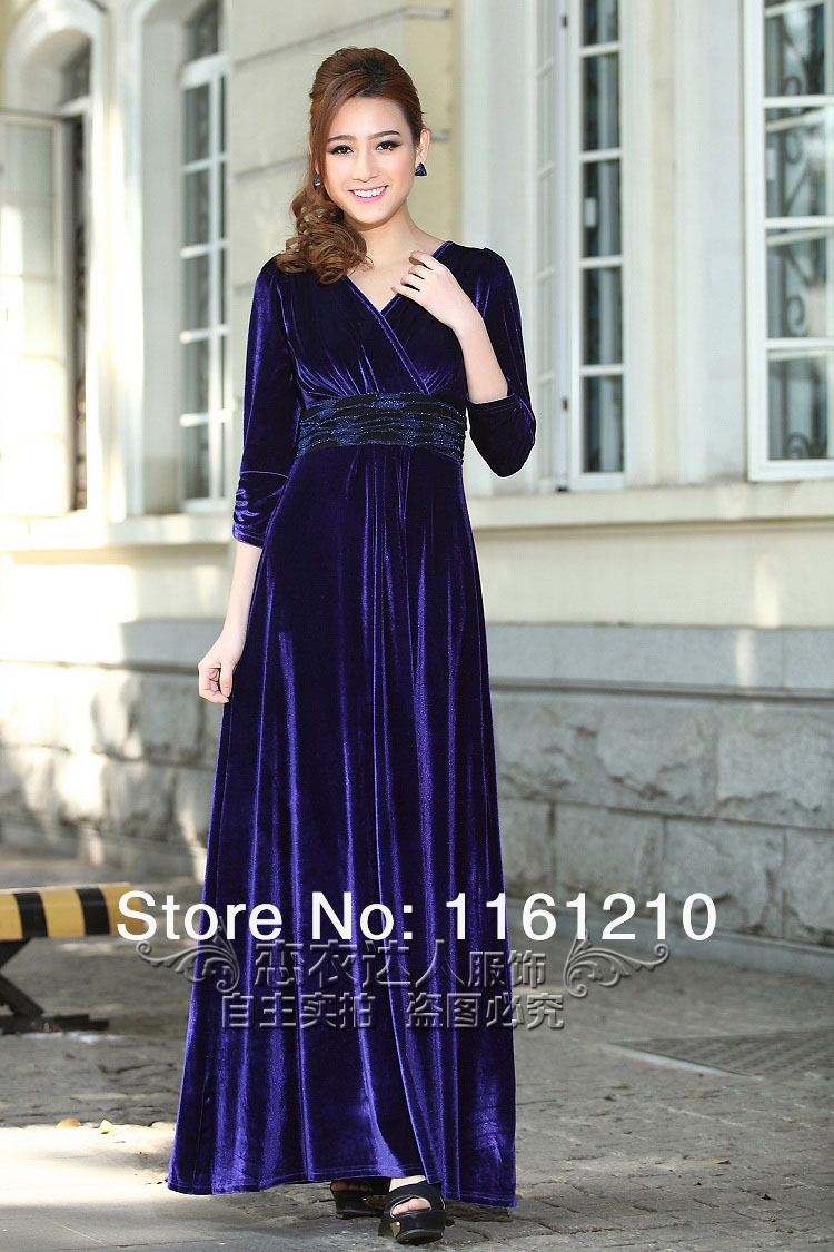 Buy velvet formal evening party maxi for Maxi dresses for wedding party