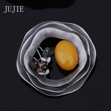 JUJIE Brooches For Women 2016 Multicolor Round Flower Nature Stone Pins Brooches Fashion Exquisite Hollow Geometric Brooch Pin(China (Mainland))