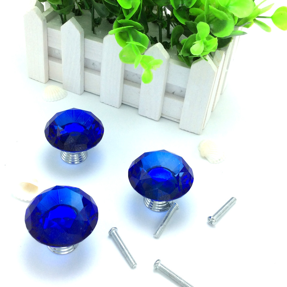 5pcs/lot Blue color 40mm Diamond Shape Crystal Glass Pull Handle Cupboard Cabinet Drawer Door Furniture Knobs<br><br>Aliexpress