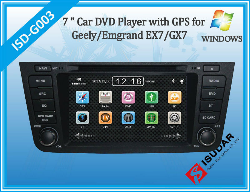 Two Din 7 Inch Car DVD Player For Geely/Emgrand/GX7/EX7/X7 With 3G Host Radio GPS Navigation Bluetooth TV 1080P Ipod Free Maps(China (Mainland))