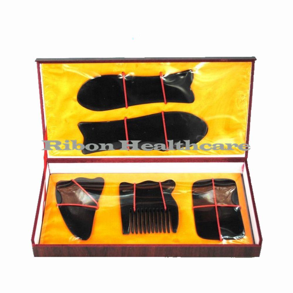 Free Shipping 5 PCS Black Buffalo Horn Guasha Board  Chinese Traditional Medicine Massager Gift Box Massage Tool To Elders<br><br>Aliexpress
