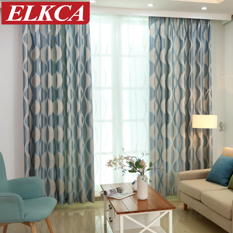 Blue wave simple modern curtains for living room window for Modern lounge curtains