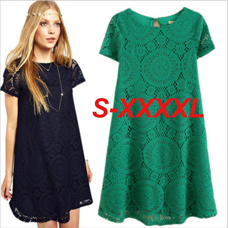 Large size 2016 Summer lace hollow out dress casual short sleeve white/black Women dresses plus size XXXL 4XL peplum tops DR372(China (Mainland))