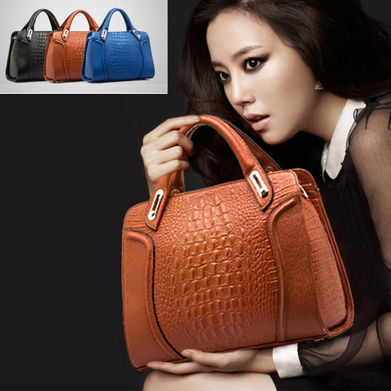 Paris 2015 Fashion Women Handbag Famous Brands Crocodile Pattern Cowhide Shoulder Bag Genuine Leather Women Messenger Bags Tote<br><br>Aliexpress