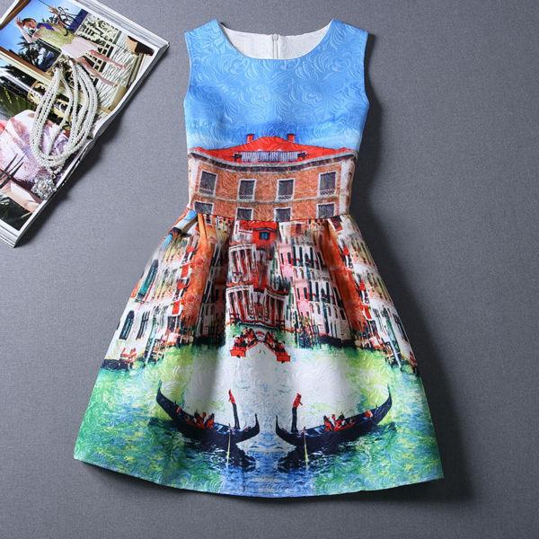 Платье с круглым вырезом mini без рукавов