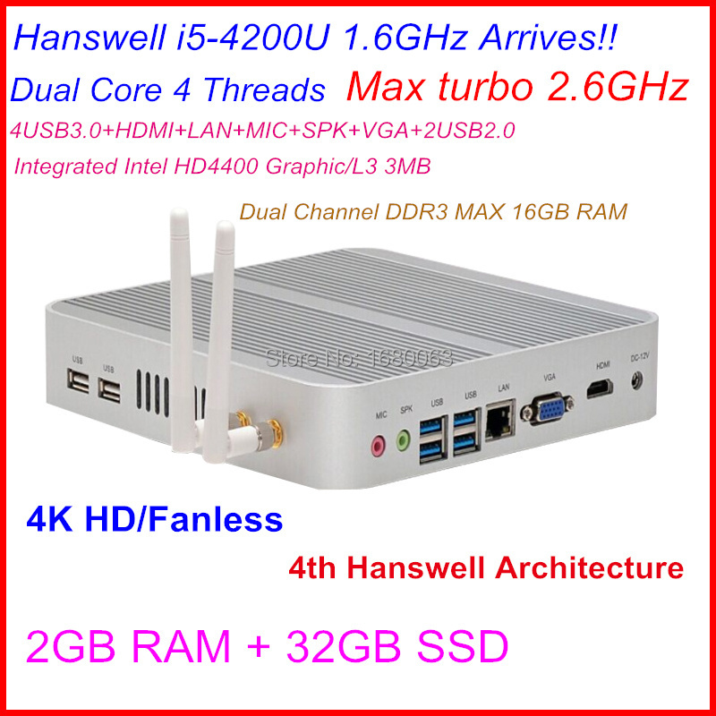 Cheap Linux Server HTPC Fanless Mini pc With Intel Core I5 4200U CPU 2G RAM 32G SSD Can Be Used As A IR Remote Control Medial PC(China (Mainland))