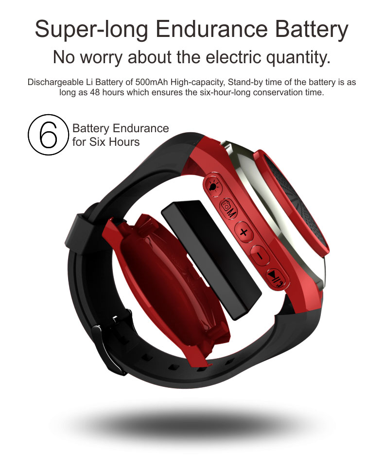 Smart Watch With Self-timer Anti-Lost Alarm Music Sport Mini Bluetooth Speaker Support TF Card FM Radio Hands-free With LED