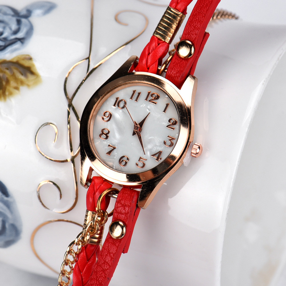 bowaiwen #0075 Woman watches Leather Strap Braided winding Rivet Bracelet Watches Wristwatch lady girl gift wholesale