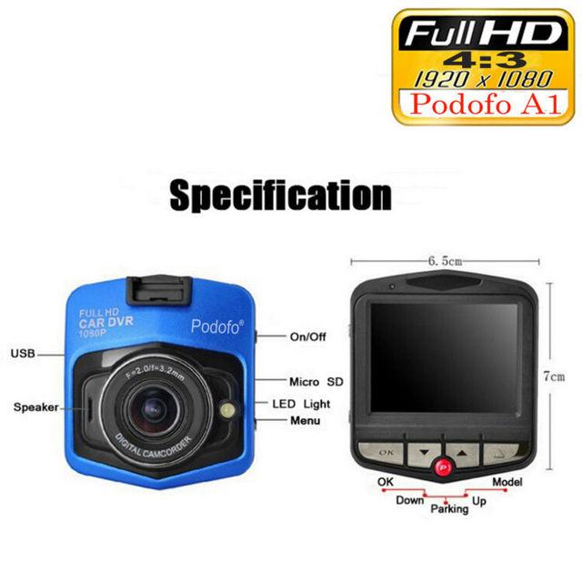 Original Podofo A1 Mini Car DVR Camera Dashcam Full HD 1080P Video Registrator Recorder G-sensor Night Vision Dash Cam Blackbox