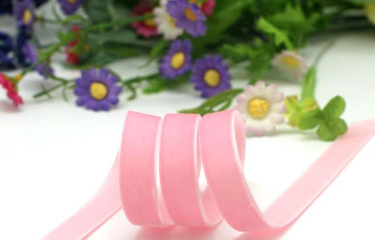 """5/8"""" Single Face Velvet Ribbon Pink Velvet Ribbon Velvet Christmas Ribbon(China (Mainland))"""