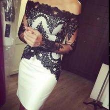 Black And White Sheath Cocktail Dress With Lace Bodice Column Off The Sholder Long Sleeve Vestidos De Festa Curtos Noite(China (Mainland))