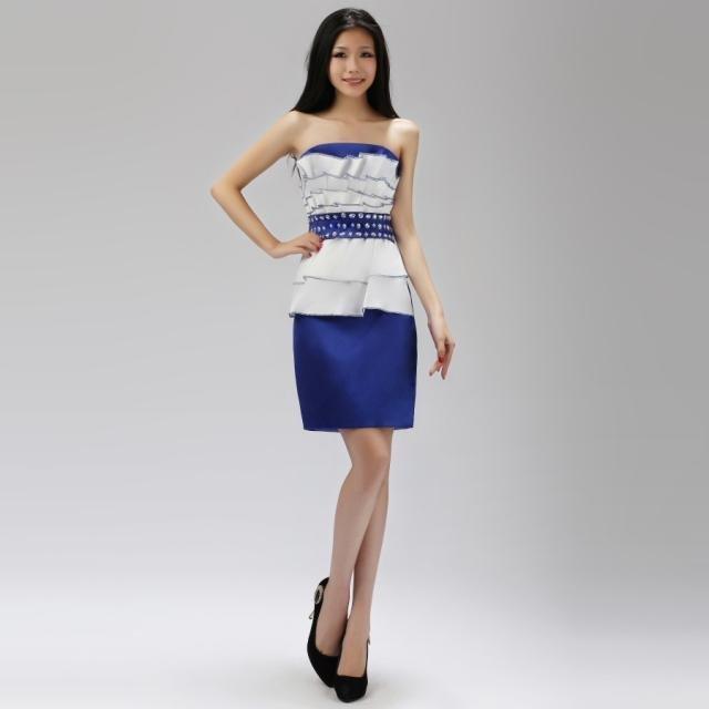 Yiwu-TOPSHOP 2012 OEM Fashion Designer Formal Blue Bridesmaid Dresses / Evening Dress / Compere Dress Dinner Jacket