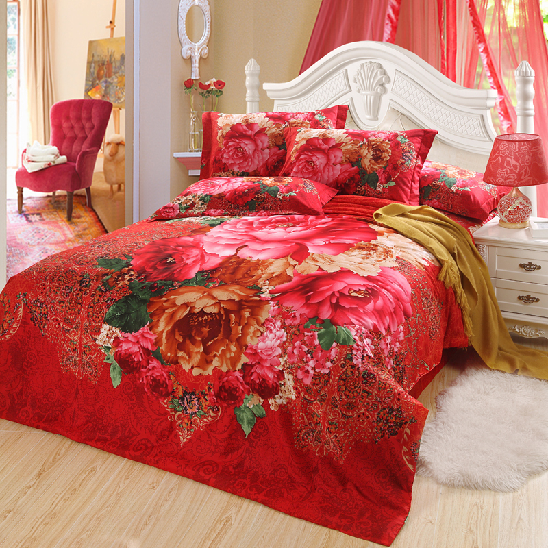 red and yellow mum comforter set red bedding set full queen size duvet covers 100% cotton quilt covers Wedding bedclothes 4/5pcs(China (Mainland))