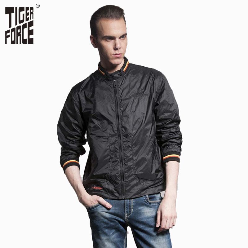 TIGER FORCE 2016 Hot Sale Men Fashion Casual Jacket Spring Black Coat Solid Zipper Thin Short Black Jacket Free Shipping 3633(China (Mainland))