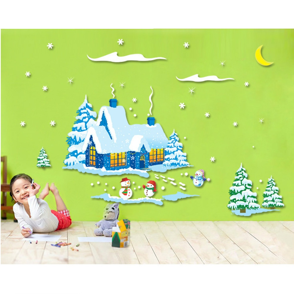 Snowman Self Adhesive Removable PVC Wall Stickers Decal Christmas New Year Room Decor AM9046(China (Mainland))