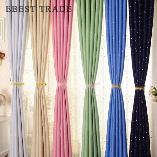 (1 piece)Star Kids curtain Fashion Color Grommet Top Eyelet Thermal Blackout Curtains For Living room Bed room Cortinas(China (Mainland))