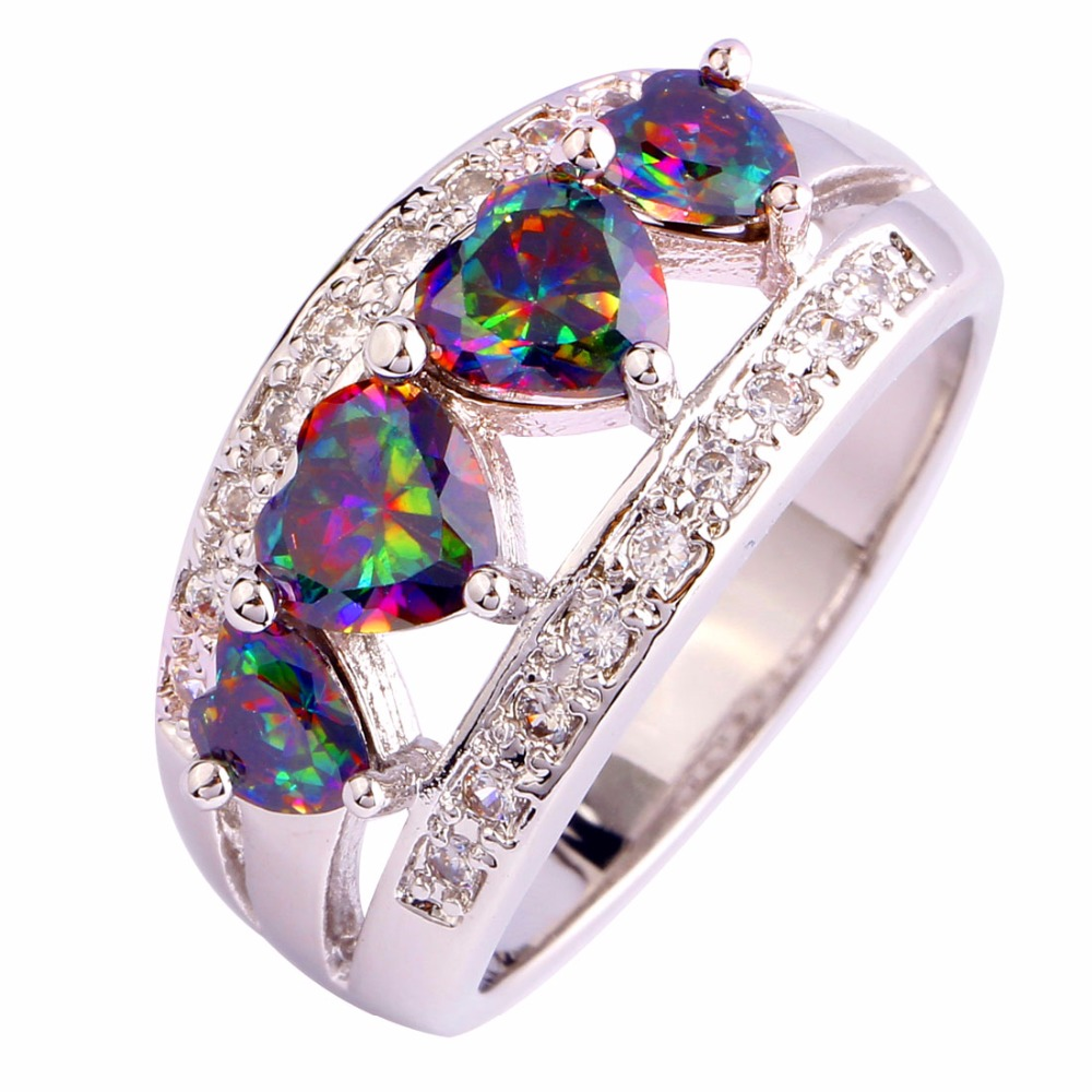 women brilliant colorful rainbow heart cut created topaz 925 silver ring size 6 7 8 9 - Rainbow Wedding Rings