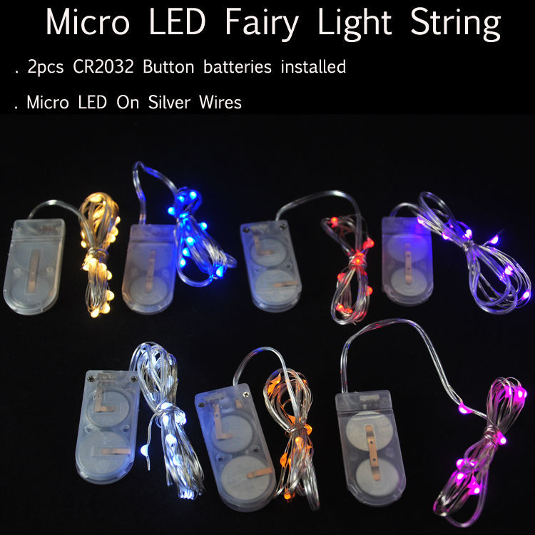 10pcs/lot CR2032 Button Battery 2M 20LED Micro Tiny LED String Lights,Battery Led Fairy Light For Christmas Party Wedding Decor(China (Mainland))