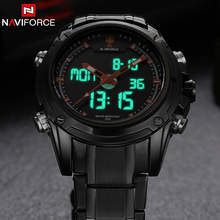 Luxury Brand NAVIFORCE Watches Men Full Steel Quartz Clock Digital LED Watch Army Military Sport Watch