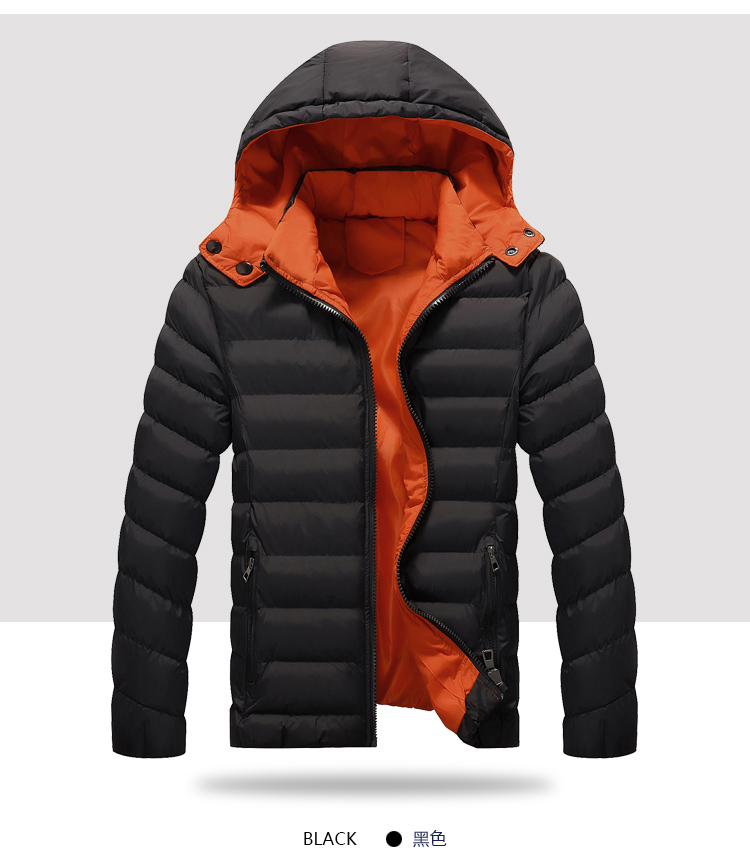 Men Hooded Jackets Cold Winter Hood Detachable Solid Color Warm and Thick Men Winter Parkas Big Size M-5XL