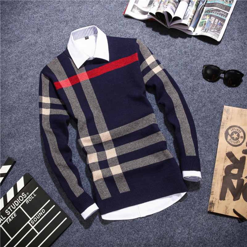 2016 Korean version of the new men 's sweater stripe hit the color of autumn and winter men' s youth primer shirt long - sleeved(China (Mainland))