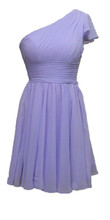 Simple dedign One Shoulder Short Sleeves bridesmaid dress Purple chiffon Dress For Wedding Party