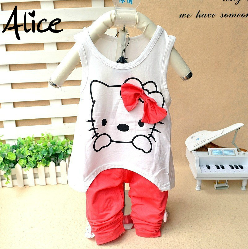 Girls clothing set Kitty summer suit vest +pants two sets of leisure suits baby girls bow KT cartoon cat suit children's clothes(China (Mainland))