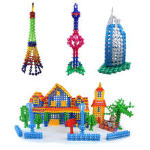 Brand New 400 pcs Multicolor Kids Snowflake Building Puzzle Blocks Educational Xmas Toys Bricks DIY Assembling Classic Toy(China (Mainland))