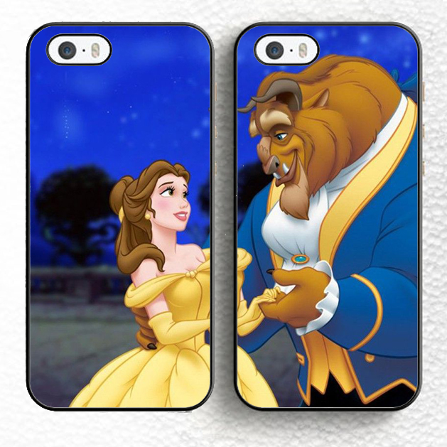 2pcs/lot Best Friends Beauty and the Beast Cartoon Couples Soft TPU Mobile Phone Cases For iPhone 6 6S Plus 5 5S 5C 4S SE Cover(China (Mainland))