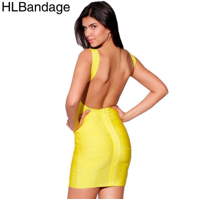 Hlbandage спинки спагетти ремень 2015 сексуальных женщин район Bodycon HL платья повязки желтый белый красный черный темно-синий фиолетовый
