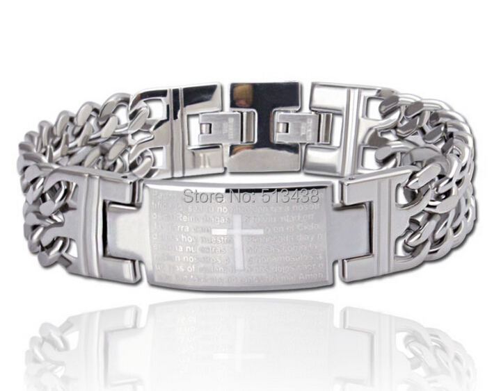 Men's Cool Bangle Stainless Steel Cross bible Double chain Card ID Bracelet 18mm FREE SHIPPING(China (Mainland))