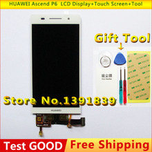 Original for Huawei Ascend P6 LCD Display Screen with touch screen digitizer Glass White + tools Free shipping Touch Panel