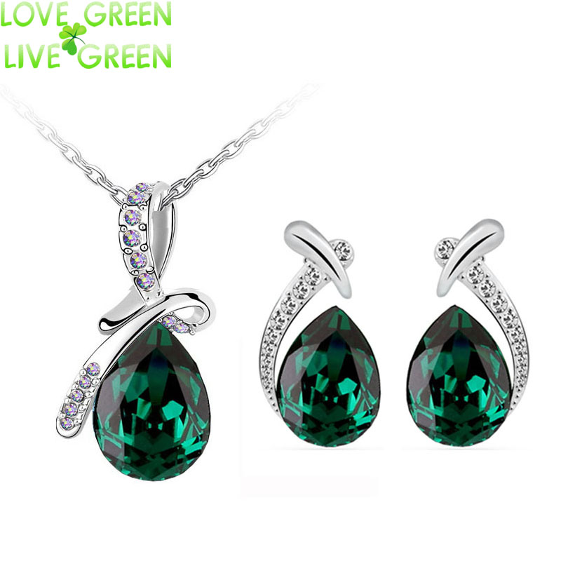 2016 new arrival emerald green brand bridal wedding 18K Platinum plated tear drop pendant necklace earrings jewelry sets 10743(China (Mainland))