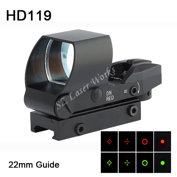 Optical 1X22mm Red Green Dot Reflex sight for AR15/AK47/M4 Highly Accurate Gun optic and substitute for overpriced holograph(China (Mainland))