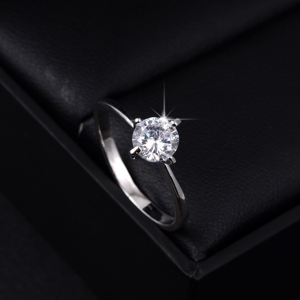 Love Forever Wedding Ring Silver Plated Gem Stone Full Sizes Wholesale Women Rings(China (Mainland))