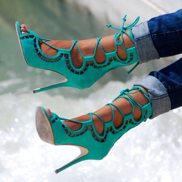 Made-to-order Handamde Green Lace Up Hollow Out Women Sandal Sexy High Heel Shoes Ladies OL Sandals Gladiator Wedding Party Shoe<br><br>Aliexpress