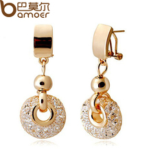 BAMOER Luxury 18k Rose Gold Drop Earrings Champagne Wire Zircon Crystal Female Fashion Jewelry JSE019(China (Mainland))