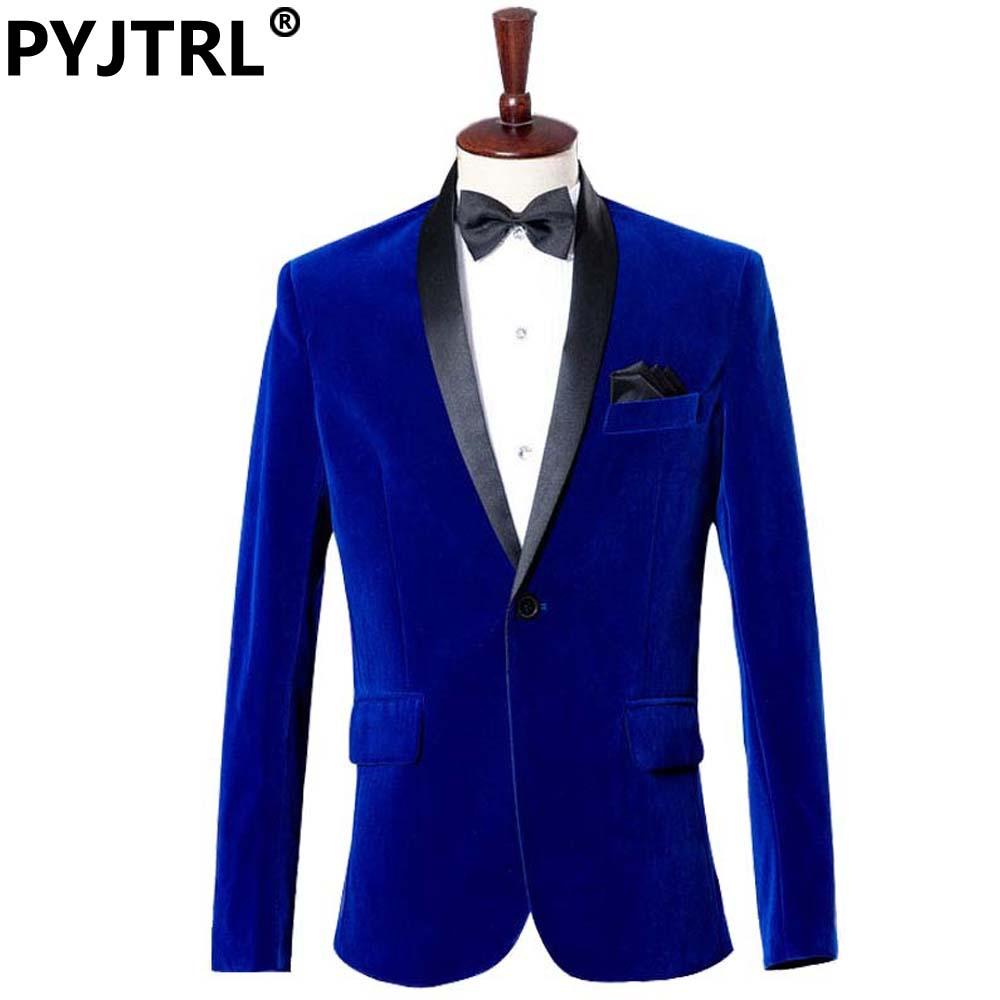 (Jacket + Pants) Groom Tuxedo Dress Costume Studio Sapphire Royal Blue Velvet Slim Fit Suit Wedding Suits For Men(China (Mainland))