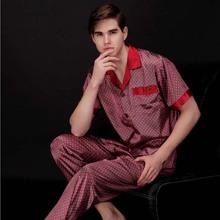 Brand New Arrival Men's Silk Pajamas Shirts+ Pants 2PCS Sleepwear Lounge Home Wear Pajama Set Free Shipping L XL XXL 040901(China (Mainland))