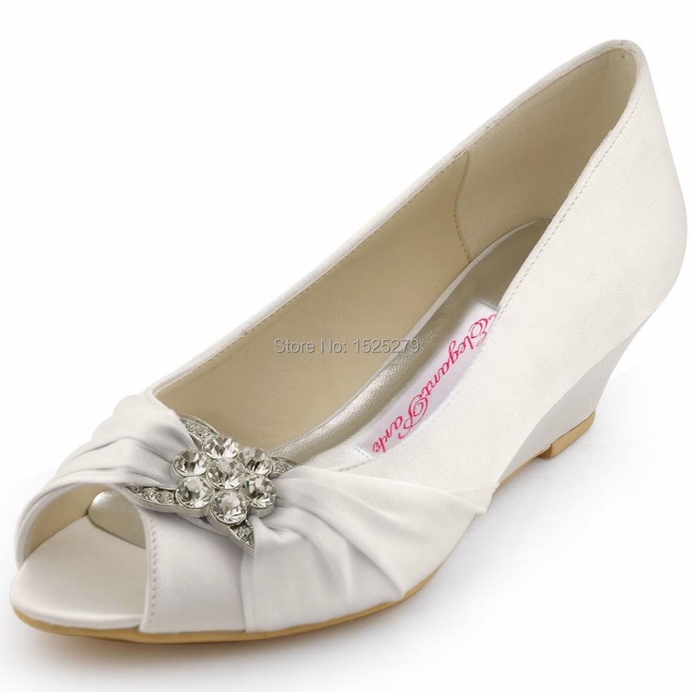 Fast Shipping WP1403 US Women Ivory Peep Toe Bridal Party Pumps Prom Evening Wedge Heels Sandals Rhinestones Satin Wedding Shoes(China (Mainland))