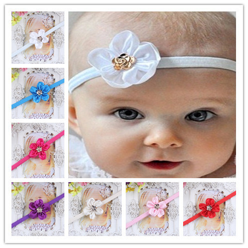 Hot Sale Satin Ribbon Baby Girl headbands Flower Newborn Headband Elastic Children's Infant Hairband Hair Accessories For Kids(China (Mainland))