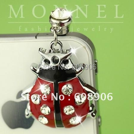 IP203a Monnel Special Offer Red Ladybug Anti Dust plug Ear Cap Cover Charm for iphone Mobile Phone(China (Mainland))