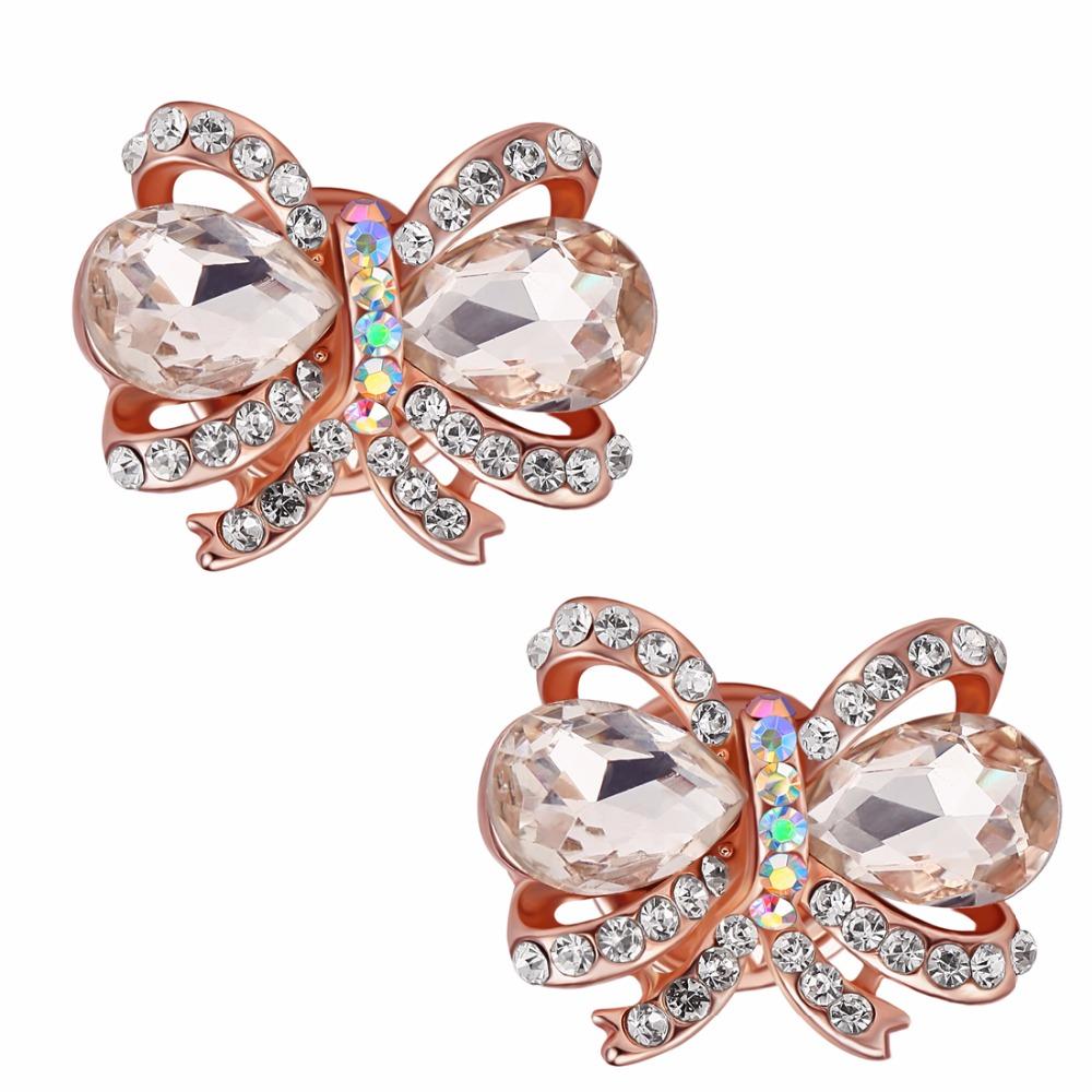 2pcs/lot Shining Crystal Bow-knot Collar Clips Female Clothing Shirt Sweaters Cufflink Buckle Hat Bag Lapel Pin Brooch CMZ0011(China (Mainland))