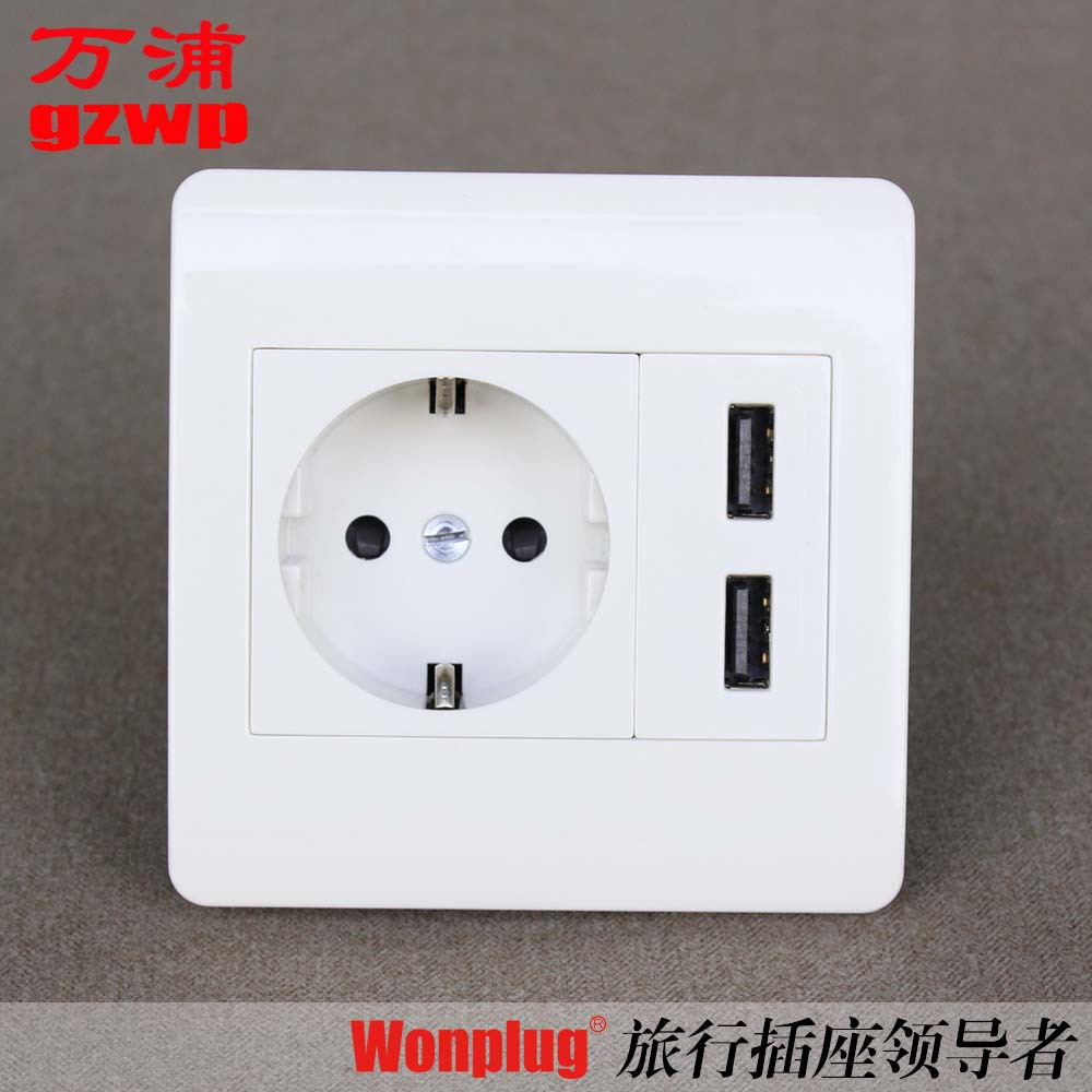 New type 86 2.1 A dual USB European wall socket German standard power outlet Russia(China (Mainland))