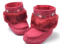 Toddler Winter Boots Stitched Flower Red casual shoes Baby Pram Shoes First Walker Prewalker Shoes