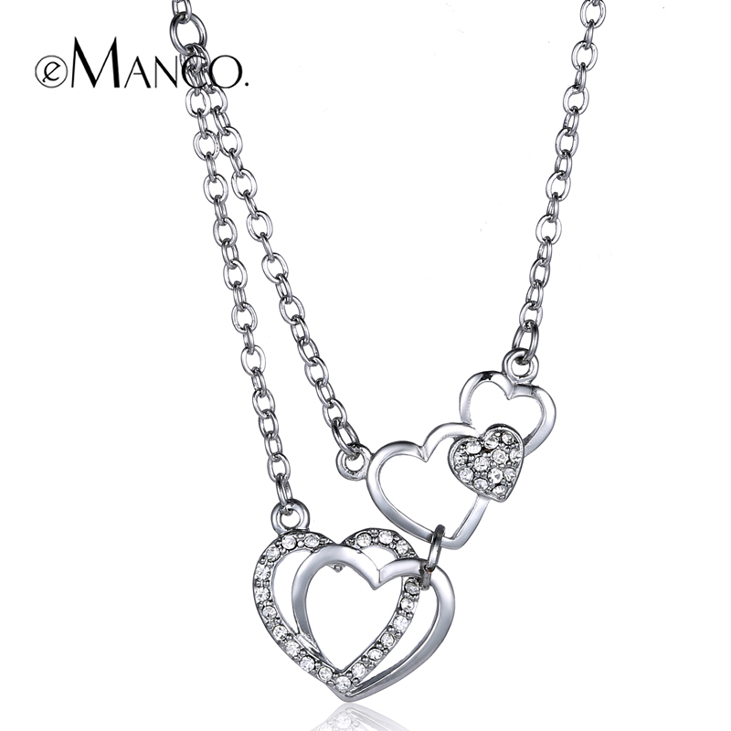 Mutual affinity Crystal pendants 4 Heart Loves' necklaces for women eManco 2015 brand fashion women accessories Hot AN00007-1(China (Mainland))