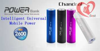 Free shipping ChandralPortable Charger Mobile phone charging treasure Portable rechargeable power supply 2600mAh 7 colors