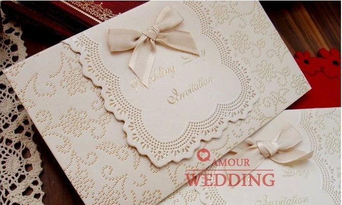 wedding invitation card -- customised printing luxury marriage Paper Card laser cut type cards with a ribbon 100pcs/lot(China (Mainland))