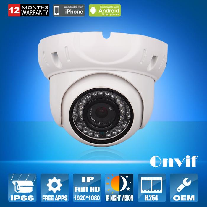 Фотография Free Shipping Onvif 2.0 1080P CCTV Camear Sony Sensor 25fps H.264 Video Network IP Camera 2MP Security Waterproof IR Dome Camera