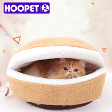 Hot Sale! Warm Cat Bed House Hamburger bed Disassemblability Windproof Pet Puppy Nest Shell Hiding Burger Bun for winter #K